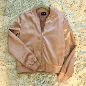 ONLY ONE Pink Satin Bomber Jacket size 36